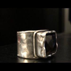 Vintage Silpada Smoky Quartz Topaz Hammered Ring